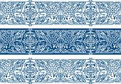Winter Floral Borders Collection. Three Seamless Classic Blue Vector Band poster
