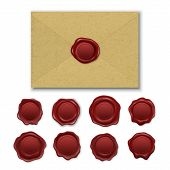 Vector Realistic Brown Craft Envelope, Vintage Retro Stamp Wax Seal Set Closeup Isolated On White Ba poster