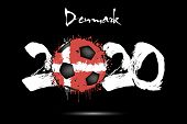 Abstract Numbers 2020 And Soccer Ball Painted In The Colors Of The Denmark Flag In Grunge Style. Fig poster