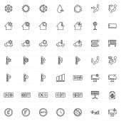 Heating And Cooling System Line Icons Set. Air Conditioning Function Linear Style Symbols Collection poster