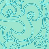Seamless Turquoise Vector Pattern Of Spirals And Waves. The Texture In A Linear Style For Textiles A poster