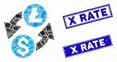 Mosaic Dollar Litecoin Exchange Icon And Rectangular X Rate Seal Stamps. Flat Vector Dollar Litecoin poster