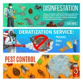 Pest Control Disinfestation And Deratization Health Sanitary Service, Vector Web Banners. Domestic I poster