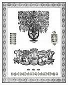 picture of lyre-flower  - Set of vintage design elements - JPG