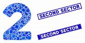 Mosaic 2 Digit Pictogram And Rectangle Second Sector Seal Stamps. Flat Vector 2 Digit Mosaic Pictogr poster
