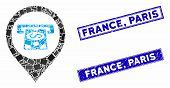 Mosaic Cash Machine Pointer Pictogram And Rectangle France, Paris Seal Stamps. Flat Vector Cash Mach poster