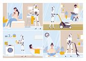 Robot Doing Housework. Robotic Housekeeping. Robot Doing Home Cleanup, Laundry. poster