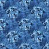 Seamless Tie-dye Pattern Of Indigo Color On White Silk. Hand Painting Fabrics - Nodular Batik. Shibo poster