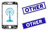 Mosaic Radio Control Smartphone Pictogram And Rectangular Other Seal Stamps. Flat Vector Radio Contr poster