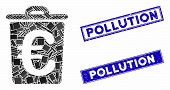 Mosaic Euro Trash Pictogram And Rectangle Pollution Stamps. Flat Vector Euro Trash Mosaic Pictogram  poster