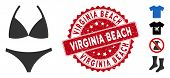 Vector Bikini Icon And Rubber Round Stamp Seal With Virginia Beach Text. Flat Bikini Icon Is Isolate poster