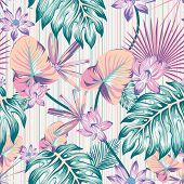 Winter Cold Style Tropical Flowers And Leaves Illustration Vector Repeat Pattern Seamless Floral Wal poster