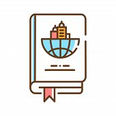 Travel Book Color Line Icon. Travel Guide. Information About Countries And Their Sightseeing. Pictog poster