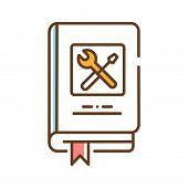 Technics Repair Book Color Line Icon. Course About Technical And Repair Knowledge. Pictogram For Web poster