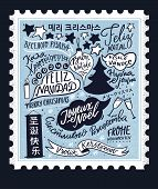 Merry Christmas In Different Languages. Vintage Stamp Card Design With Hand Lettering Text, Internat poster