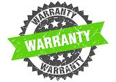 Warranty Grunge Stamp With Green Band. Warranty poster