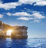 Fantastic Azure Window, famous stone arch on Gozo island, Dwejra. Malta