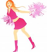 Cheerleader Dance With Pompons On White Background