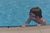Woman In A Swimming Pool. Girl In A Swimsuit Swims In The Pool. 9 Years Old Girl Swims In The Pool.  poster