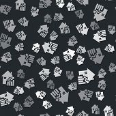 Grey Rising Cost Of Housing Icon Isolated Seamless Pattern On Black Background. Rising Price Of Real poster