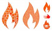 Fire Flame Icon Mosaic Of Raggy Items In Different Sizes And Color Tones, Based On Fire Flame Icon.  poster