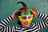 Schoolgirl in catwoman costume