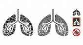 Lungs Cancer Icon Composition Of Inequal Elements In Variable Sizes And Color Hues, Based On Lungs C poster