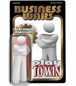 A dedicated worker, employee, manager or leader as an action figure in a package labeled Business Wa