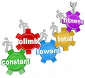 Several people walking on gears with words spelling the phrase Constant Climb Toward Total Fitness,