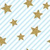 Gold Glittering Confetti Stars Seamless Pattern. Gold Stars Vector Background. Golden Foil Star Conf poster