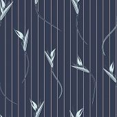 Bird Of Paradise Stripes Seamless Vector Pattern. Strelitzia Also Known As Bird Of Paradise Flower T poster
