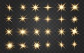 Set Of Gold Sparks Isolated. Vector Glowing Stars. Light Effect, Golden Glowing Flash With Gold Rays poster