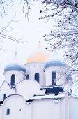 Veliky Novgorod Russia. St Sophia Cathedral Closeup Of Domes, Veliky Novgorod, Russia. Focus At The  poster