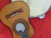 Close-up Of Two Brazilian Musical Instruments: Cavaquinho And Pandeiro (tambourine). The Instruments poster