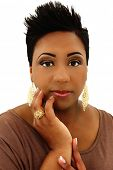 Beautiful Black Woman with Spiked Hair and Manicure Over White Background
