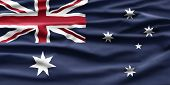 Australia National Day. Australian Flag With Stripes And National Colors. Background Illustration. poster