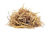 foto of hen house  - a pile of straw on a white background - JPG