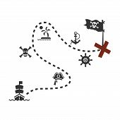 Old Treasure Map For Pirate Adventures. Island With Old Chest. Vector Illustration. Pirate Map Treas poster