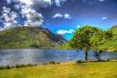 Crummock Water Lake District England With Mountains And Blue Sky In Colourful Hdr poster