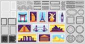 Traveler Mail Post Stamp. City Attractions Postcard, Fragile Stamp And Postage Frames. Postal Letter poster