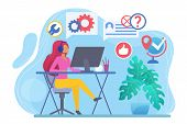 Call Center Flat Vector Illustration. Telephone Consultant At Workplace. Woman In Headphones In Offi poster