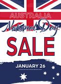 Australia National Day. Australian Flag With Stripes And National Colors. Sale. Happy Australia Day. poster