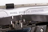 The Inscription nobel Prize In Literature On A White Sheet In A Typewriter. Nobel Prize In Literat poster