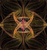 Abstract Fractal Computer Generated Image Of A Multicolored Geometric Pattern On A Dark Background,  poster