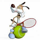 Illustration On A Subject A Dog The Tennis Player.