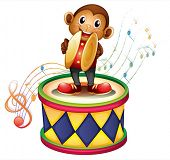 Illustration of a monkey above a drum with cymbals on a white background