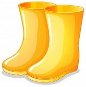 Illustration of the yellow rubber boots on a white background