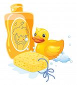 Illustration of a bubble bath with a sponge and a toy duck on a white background