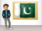 Illustration of a man beside the framed flag of Pakistan on a white background