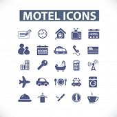 motel icons set, vector